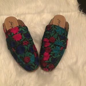 Free People At Ease Floral Brocade Mules